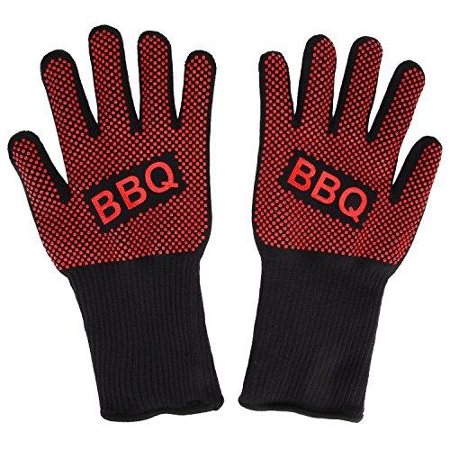 Grillhandschuhe, Irady BBQ Grille Handschuhe Hitzebeständig Ofenhandschuhe Professionelle topfhandschuhe Grillhandschuhe Silikon Backhandschuhe zum Grillen, Kochen, Grillen-Extra lange Topfhandschuhe für extreme Sicherheit -1 Paar