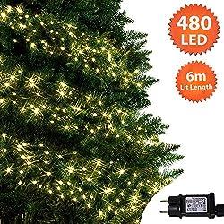 Luces de racimo Luces de árbol blancas cálidas de 480 LED Luces de cadena navideñas para interiores y exteriores,6M Longitud encendida con cable de plomo de
