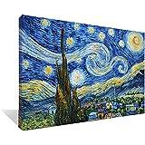Asdam Art-?100% pintado a mano 3D?Azul noche estrellada por Vincent Van Gogh óleos sobre lienzo abstracto imagenes enmarcado moderno arte de la pared para sala recamara comedor Decoracion para el hogar?24x36inch)
