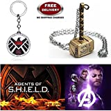 (2 Pcs AVENGER SET) - AGENTS OF S.H.I.E.L.D KEYCHAIN & THOR HAMMER (GOLD) IMPORTED PENDANT. LADY HAWK DESIGNER SERIES 2018. ❤ ALSO CHECK FOR LATEST ARRIVALS - NOW ON SALE IN AMAZON - RINGS - KEYCHAINS - NECKLACE - BRACELET & T SHIRT - CAPTA