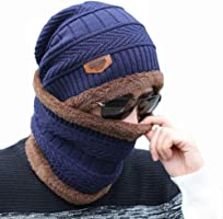 AlexVyan Premium Quality Ultra Soft Unisex Woolen Beanie Cap Plus Neck Scarf Set for Men Women Girl Boy - Warm, Snow...