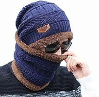 AlexVyan Premium Quality Ultra Soft Unisex Woolen Beanie Cap Plus Neck Scarf Set for Men Women Girl Boy - Warm, Snow...