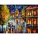 HAJKSDS Oil DIY Oils Christmas Abstract Street Retro Car Gift Living Room Wall Decoration 40X50Cm No Frame Toy