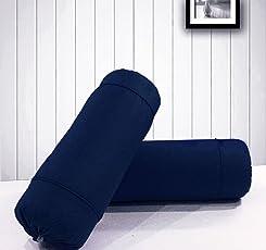 AURAVE Excel Cotton 2 Pieces Plain Bolster Cover Set - 16 X 32 inches, Multi