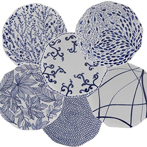 Nador Mix Abendessen Teller, Porzellan, Blau, 0,1x 0,1x 0,1cm -