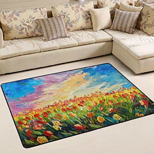 Sunrise Home Möbel (Woor Super rutschhemmender Tulpen Sunrise Bereich Teppiche/Boden Matte/Bezug Teppiche mit kleine Menge Speicher Schaumstoff für Wohnzimmer/Schlafzimmer/Esszimmer/Kinder/Home Dekorieren 3x 2Füße, multi, 3 x 2 Feet)