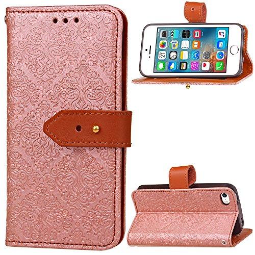 JIALUN-étui pour téléphone Pour Apple IPhone 5 5s SE Boîtier de couverture avec slot pour carte, boucle magnétique, avec fonction de support Flat Open The Phone Shell ( Color : Khaki ) Rose Gold