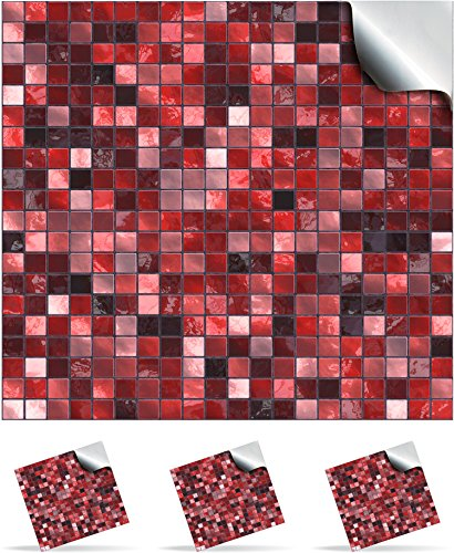 24 Scarlett Red - Printed in 2d Kitchen / Bathroom Tile STICKERS For 150mm (TP3 - 6 inch) Square Tiles – Directly From: TILE STYLE DECALS, No Middleman (Full Pack of 24)
