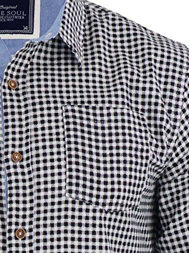 Chemise à carreaux pour homme Brave Soul Blaze flanelle de coton brossé Haut à manches longues Décontracté Noir - Noir/blanc