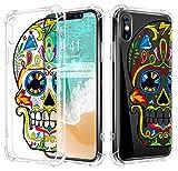 MoKo iPhone X Coque - Etui Housse Ultra léger en TPU Prémium Flexible pour Apple iPhone X/iPhone 10 (2017) Smartphone (Support Le Chargement sans Fil), Coloré Crâne