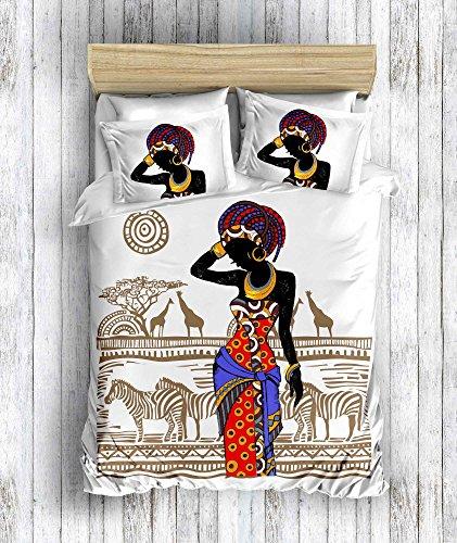 DecoMood 3D Bedruckte 100% Baumwolle African Design Bettwäsche Set, traditionelle afrikanische Frauen Zebra und Giraffe Mottoparty Full/Queen Size Bettdecke/Bettbezug Set, Full/Queen Size weiß (Afrikanische Tröster)