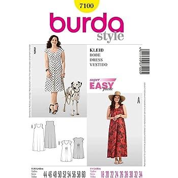 e6a07f1eed6b Burda B7880 - Cartamodello per realizzare vestito lungo stile 800 da ...