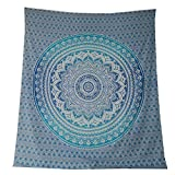 Tagesdecke Mandala Flower blau türkis Baumwolle indische Decke Wandbehang Überwurf
