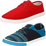 Earton Men's Stylish & Trendy Combo Canvas Sneakers (COMBO-1077+1014_$p)