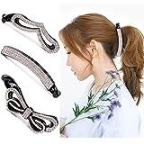 Beaupretty banana clip capelli, cristallo capelli artiglio strass capelli artiglio clip coda di cavallo titolare chiusura per