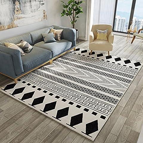 LOFAMI Tapis rectangulaire simple nordique, tapis de surface doux, créative Diamond Bedroom Home Room Mat, 80CM × 120CM ( Color : A )