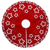 Touchmark Weihnachtsbaum Rock, Deco runde Filz-Baumdecke große Weihnachtsbaum Boden Weihnachts Dekoration Rot, Verkleidet den Baumständer und bietet viel Platz für die, 120cm (Star)