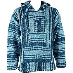 Mexican baja jerga sudadera con capucha Hippie Festival Top luz azul talla M L XL XXL azul azul claro XL