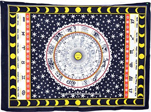 Celestial-wand-dekor (Art Box Store Wandbehang Cycle of The Age, Baumwolle, handgefertigt, indisches Batikmuster, bunt, Hippie, 30 x 40 cm, Tapesty Wandbehang aus 100% Baumwolle)