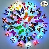 Colores cambiante LED parpadea mariposa noche luz luces decorativas 3D pegatinas Casa Decor, Dahama Luz de noche, para la fiesta, boda, sala de niños, decoracion de pared, color al azar - 20 Pcs