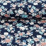 Baumwolljersey Stoff Blumen auf Marine 50cm x 150cm Stoff zum nähen Meterware'