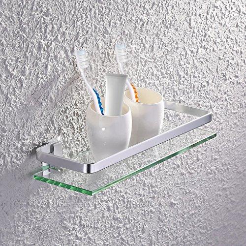 Sumnnacon étagère de Douche pour Salle de Bain (épais de verre -- 8mm) Robuste Rectangulaire en Verre, avec Cadre aluminium pour Protéger--- 35cm *12cm *5cm (taille)