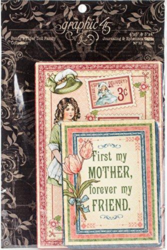 Graphic 45Penny 's Puppe Familie Kuriositäten und Journaling Karten, Papier, mehrfarbig, 20,1x 13x 0,8cm Vintage-papier-puppen