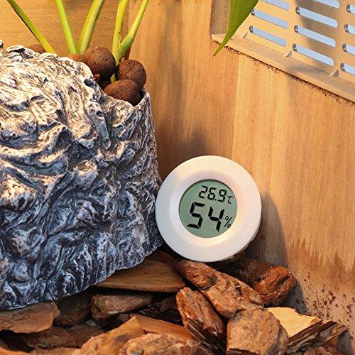 Gorgebuy Digital Thermometer und Hygrometer,für Reptile, Aquarium,Terrarium/Reptile Thermometer,digital Wasser Temperatur Zucht Box Supplies,Thermometer Zubehör-Weiß