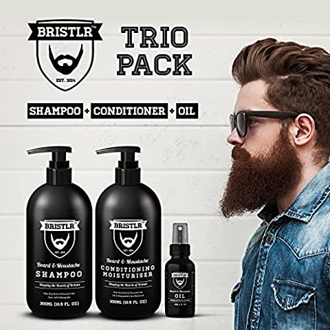 BRISTLR Beard and Moustache 300ml Shampoo, 300ml Conditioner & 30ml Oil