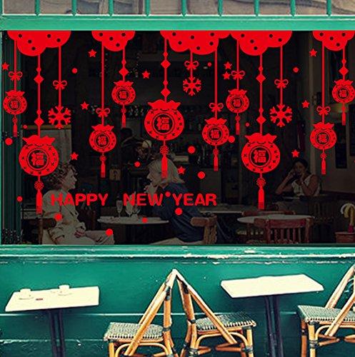 MiniWall Das neue Jahr und die Dekorationen Glastür Fensteraufkleber Frühlingsfest Kostüme und Wandbehänge Macrame Fenster Wände Plakate, Neues Jahr veröffentlicht die Schneeflocke Fortune Bag, (Kostüme Home König)