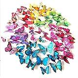 3D Schmetterling Wand Aufkleber Abziehbilder Schmetterling Magnete, langlebigem Kunststoff Deko Schmetterling, Fashion Design Wanddekoration, 72PCS/Pack (12blau 12violett 12grün 12gelb 12Pink 12rot)