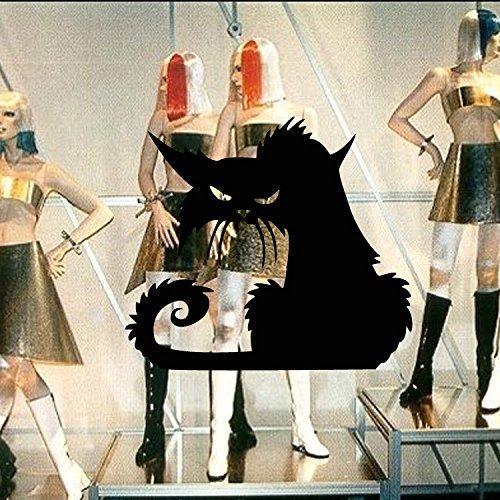 zhuziji Nette Katze Mode Wandaufkleber Lustige Katze Aufkleber Wohnzimmer Dekor Tv Wanddekor Kind Kinder Schlafzimmer Vinyl Hause d50.4x44.4cm