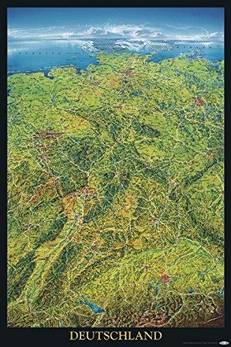 Close Up Deutschland Poster - Geographische Panorama-Karte der Bundesrepublik Deutschland - 61 x 91,5 cm