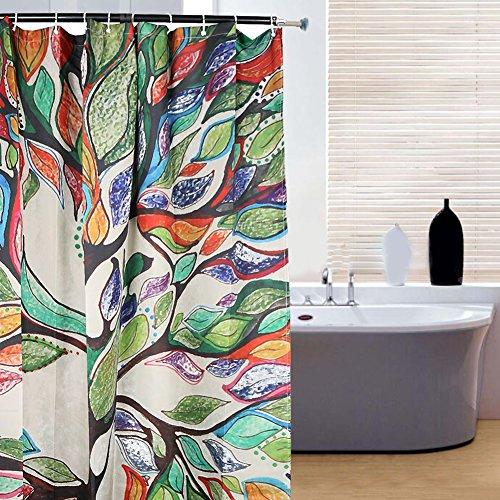 Duschvorhang Anti-Schimmel Wasserdicht Badezimmer Vorhänge Modern Kunst Cartain für Haus Deko mit 12 Kunststoffringen zum Aufhängen (180x180 cm, Bunte Baum) (April Showers-stoff)