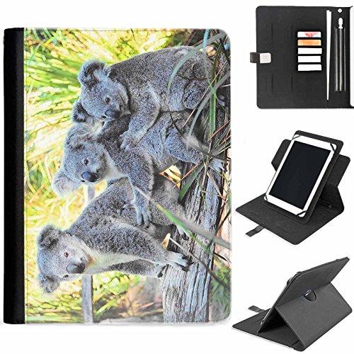 Hairyworm - Koala-Bären umarmt auf Ast Samsung Ativ Tab P8510 (GT-P8510) Leder Klapphüllen Etui 360° Schwenkgehäuse, Schutzfolie mit Apple Bleistift / Stift / Stifthalter, Kartenfächern, Papierschlitz, Metallschnalle, Standfunktion