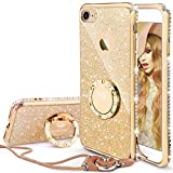 OCYCLONE iPhone 7 Case Glitter, iPhone 8 Case Glitter, Cute Shiny Case for Girls, Bling Diamond Rhinestone with Ring Kickstand Sparkly iPhone 7/8 Case - Gold