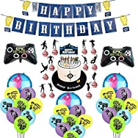 Video Game Birthday Party Supplies Decorations Banner Cake Topper Balloons for Boys Kids Girls Game Fans 86pcs Set
