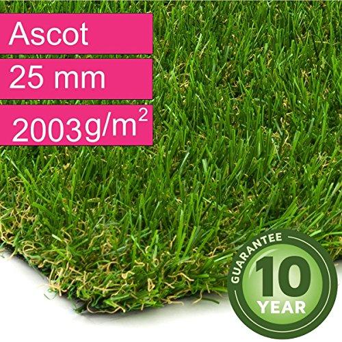 Kunstrasen Rasenteppich Ascot für Garten - Florhöhe 25 mm - Gewicht ca. 2003 g/m² - UV-Garantie...