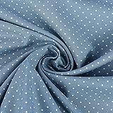 Baumwollstoff Trachtenstoff Punkte blau beige Ø1mm 1,4m