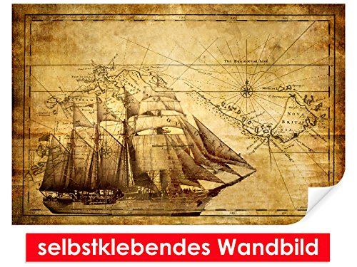 selbstklebendes Wandbild Vintage Sailing – leicht zu verkleben – Wallprint, Wallpaper, Poster, Vinylfolie mit Punktkleber für Wände, Türen, Möbel und alle glatten Oberflächen von Trendwände (Kompass-folie)