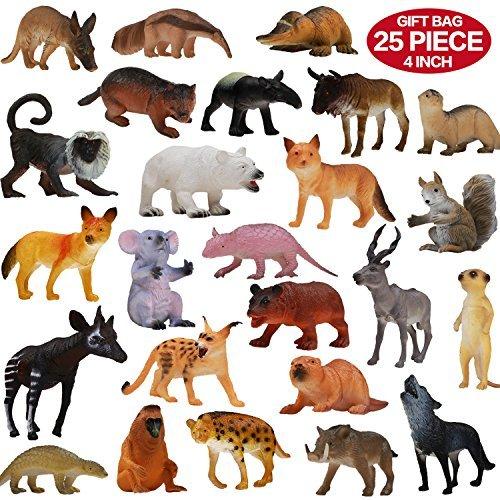 Figuras de Animales, Set de 25 Animales de Juguete de Aspecto Realista