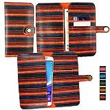 emartbuy® Orange Rayures Vintage Étui Coque Case Cover en Cuir PU (Size 5XL) avec Fermeture Magnétique Bouton Adapté pour aPhone E6 5 inch Smartphone