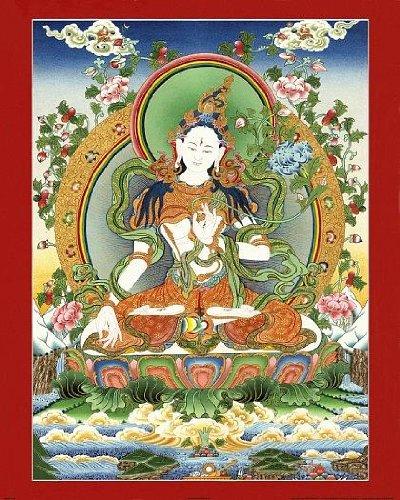 Thangka Tara weiss Druck Kunstdruck Reproduktion 40x50 cm
