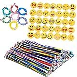 36 pezzi Matita Flessibile Morbide e 36 pezzi Emoji Gomme Regali Divertenti per i Riempitivi del Sacchetto del Partito dei Bambini (36matita+36gomma)
