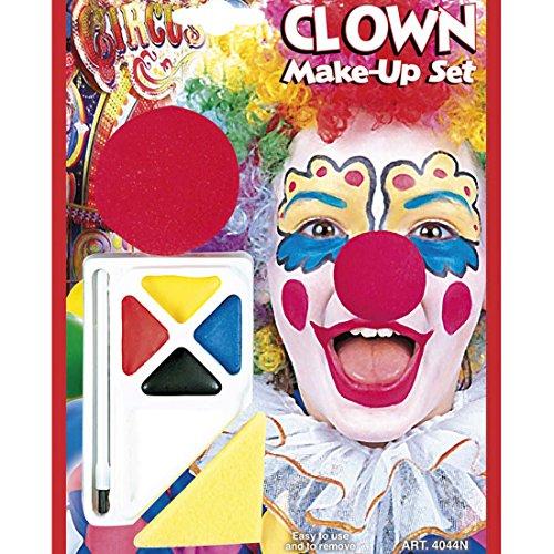 hminke mit Nase Schminke und Clownnase Make Up und Schaumstoffnase Harlekin Schminkfarbe und Knubbelnase Kosmetik Accessoire Karneval Kostüm Zubehör (Harlekin-make-up)