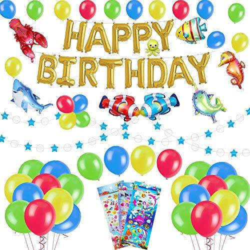 53 Stück Meerestier Geburtstag Deko Set für Kinder, Alles Gute Zum Geburtstag Banner & Girlande, Bunt Luftballons mit Fische Sticker , Unter dem meer Party Dekoration für 1ter 2 3 4 - 8 Jahre Jungen