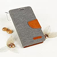 Ego® Book Style Mobile Phone With Practical Magnetic Clasp Aufstellfuntkion for Samsung Flip Case Cover with Card Slots Wallet Stand Case Canvas grey grey f??r Galaxy A5 A520 (2017)