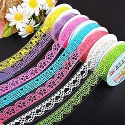 Laat Adhesive Lace cinta Mignon pegatinas diseño de encaje álbum decorativos de tuercas 3pcs