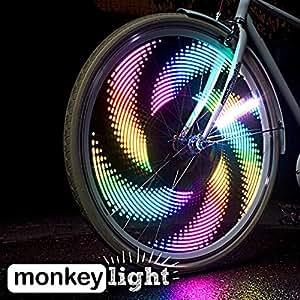Monkey Light M232 Speichenlicht - 32 Vollfarbige, Ultrahelle LEDs - Wasserfeste - 42 Themen mit Hunderten Kombinationsmöglichkeiten