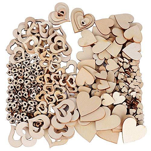 400 Pezzi di Cuore in Legno Fetta, Naturale a Forma di Cuore in Legno Piatto Decorativo Decorazione Matrimonio Natale Clip Art da Tavolo Artigianale Fai da Te,Fetta Decorazione Cuore